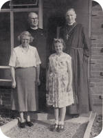 The Bishop of St Albans visits the new vicarage in 1954.
